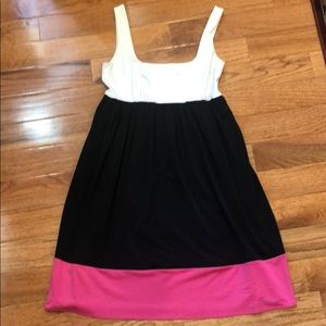 White, Black, Pink Flowy Dress
